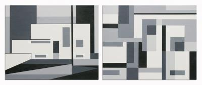 1925/26 Gropius Masters House  Black & White Abstraction of Gropius 1925/26 Masters House by Barbara McCuen