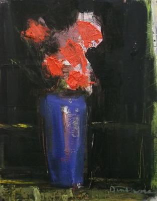 Red Flowers on Black by Stephen Dinsmore