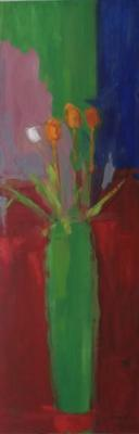 Four Tulips, Green Vase by Stephen Dinsmore