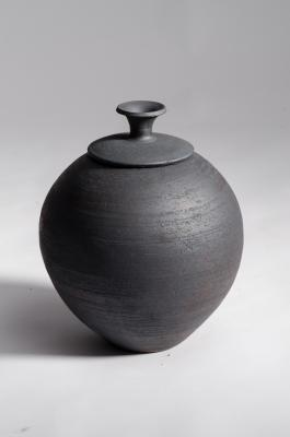 Black Vase with Lid by Jeff Baldus