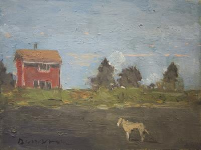 Dog, Red House, Pink & Blue Sky by Stephen Dinsmore