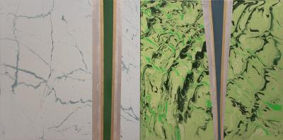 Chemical Reaction Paintings No. 104 & 103 by Brent Witters