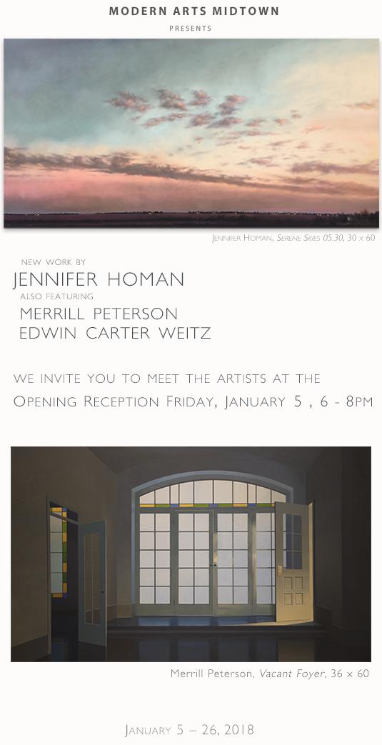 New Work by Jennifer Homan featuring Merrill Peterson and Edwin Carter Weitz